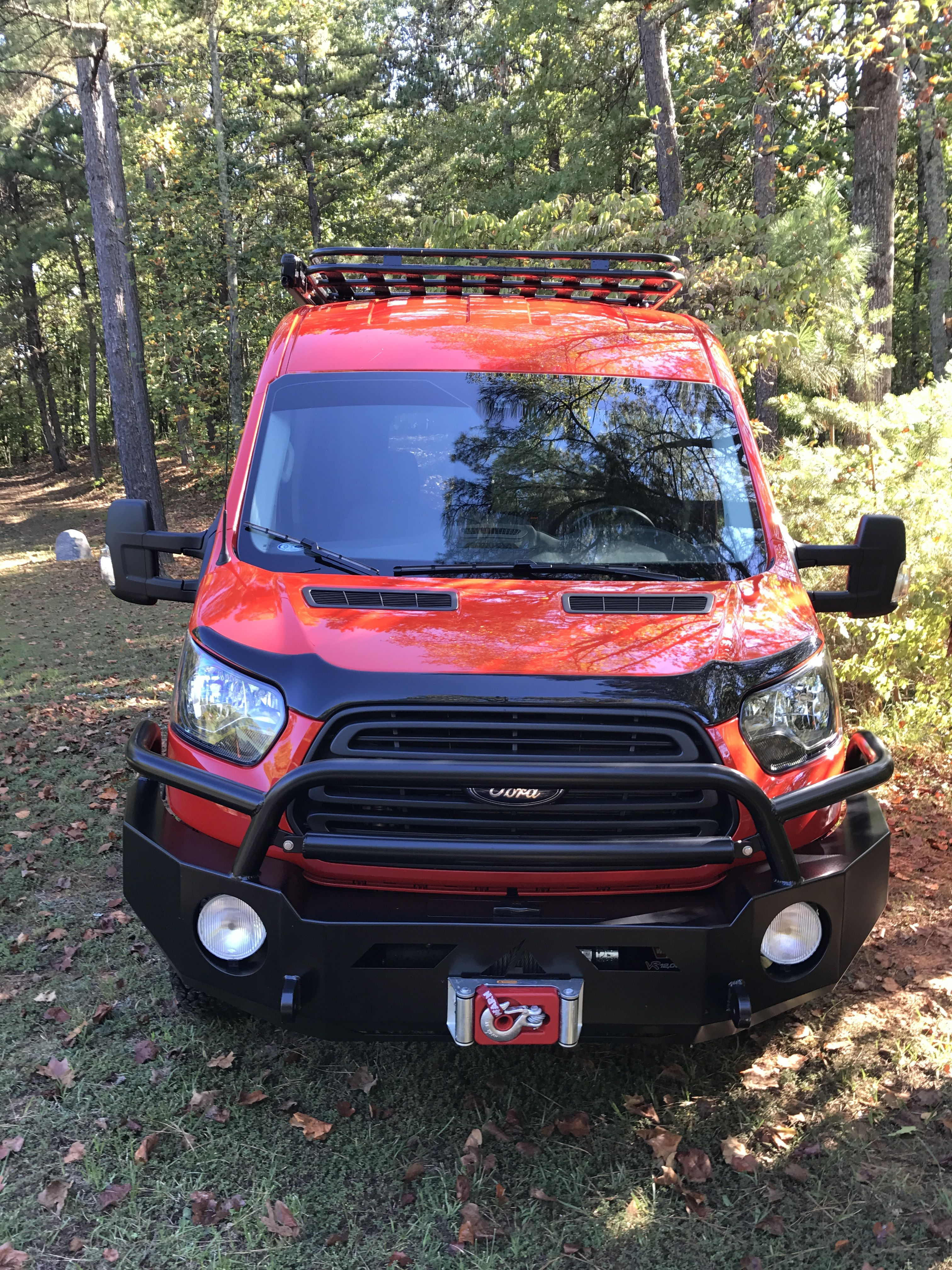 Ford Transit With Aluminess Front Bumper Rear Bumper With Tire And Box Swing Arms Ladder And Roof Rack Ford Transit Transit Camper Mini Van