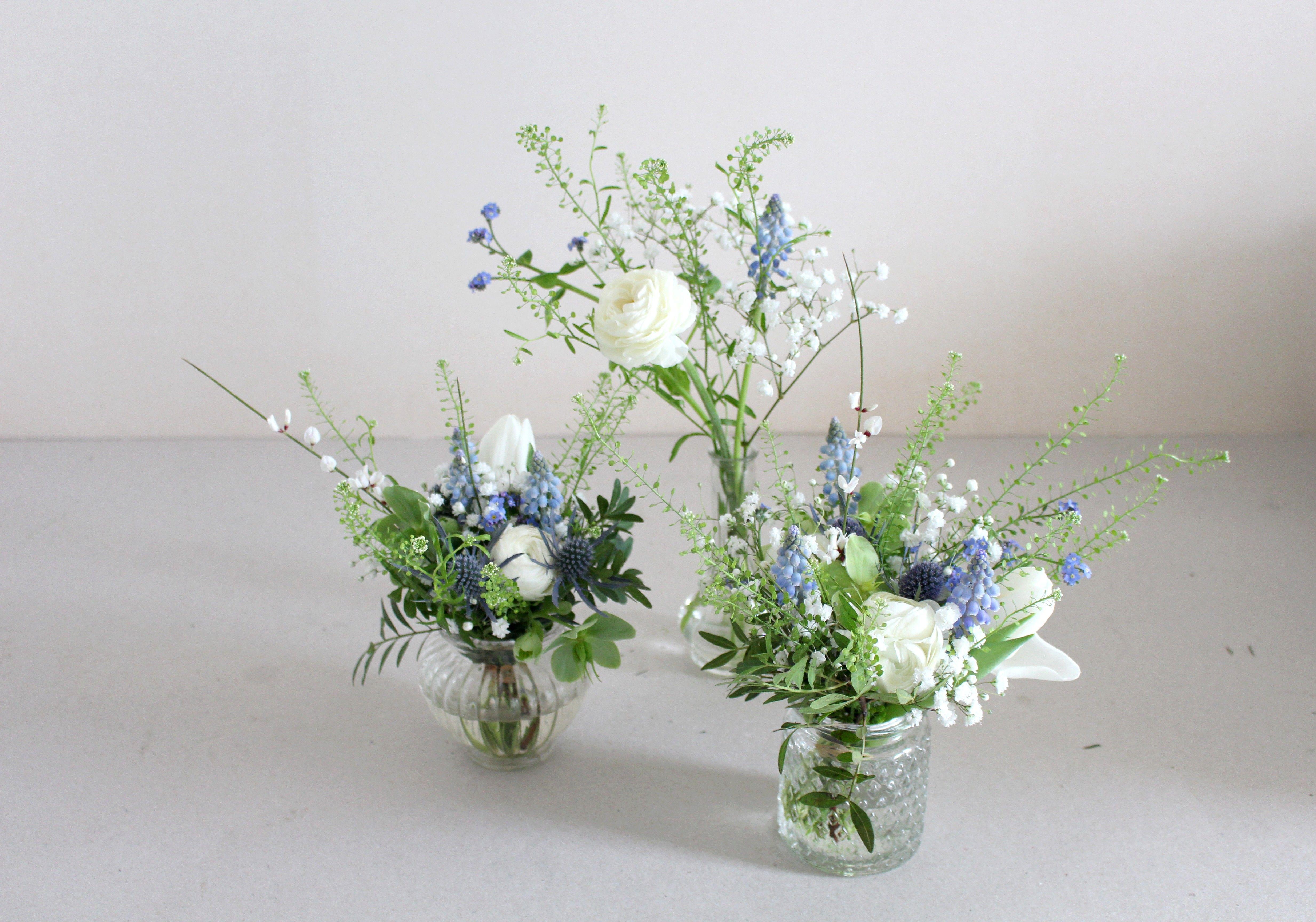Centre De Table Fleurs Bleues Et Blanches Wedding Table