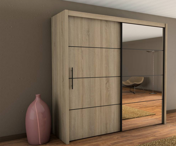 Sliding Door Wardrobe Inova Ii Oak Sonoma 200cm Sliding Wardrobe Designs Sliding Door Wardrobe Designs Closet Furniture