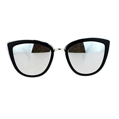 SA106 Womens Color Mirror Reflective Lens Oversize Cat Eye Sunglasses