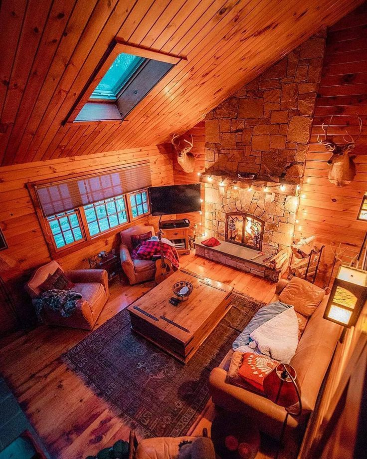 "Cozy Log Cabin on Instagram: ""It's home sweet home. It's where your heart is. It's where you make it. . . How cozy is it? ��� . . Repost from @cabinfolk Gorgeous � by…"""