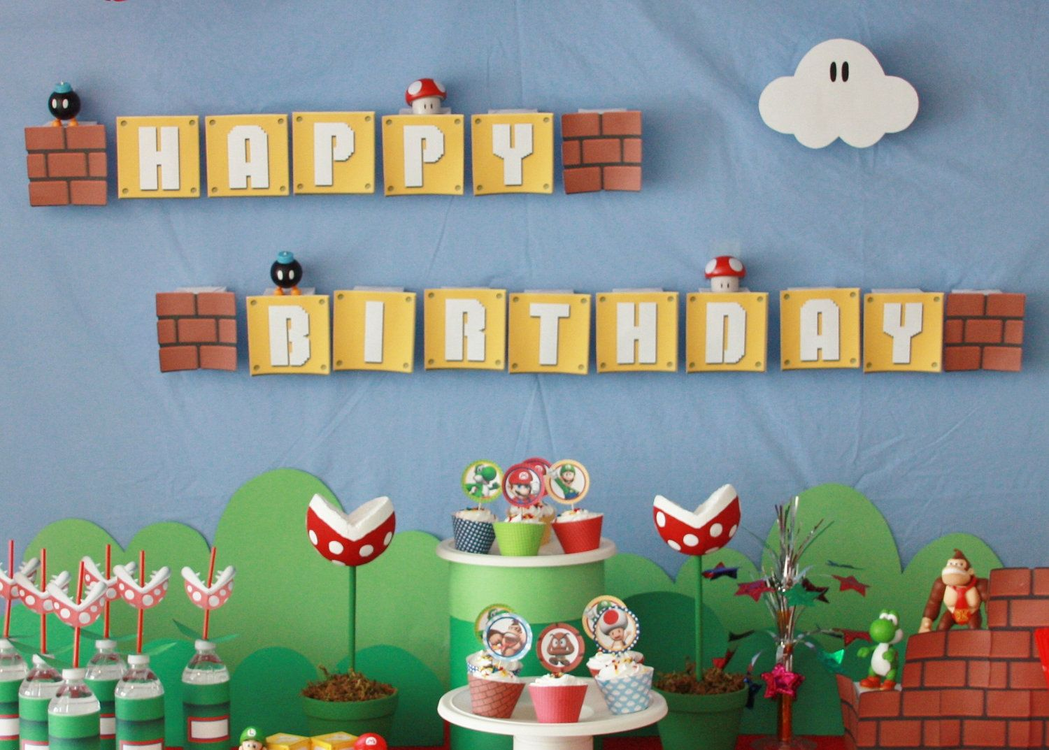 MARIO /& SONIC BUNTING BANNER BEAUTIFUL PARTY DECORATION CHILDREN BIRTHDAY FLAGS