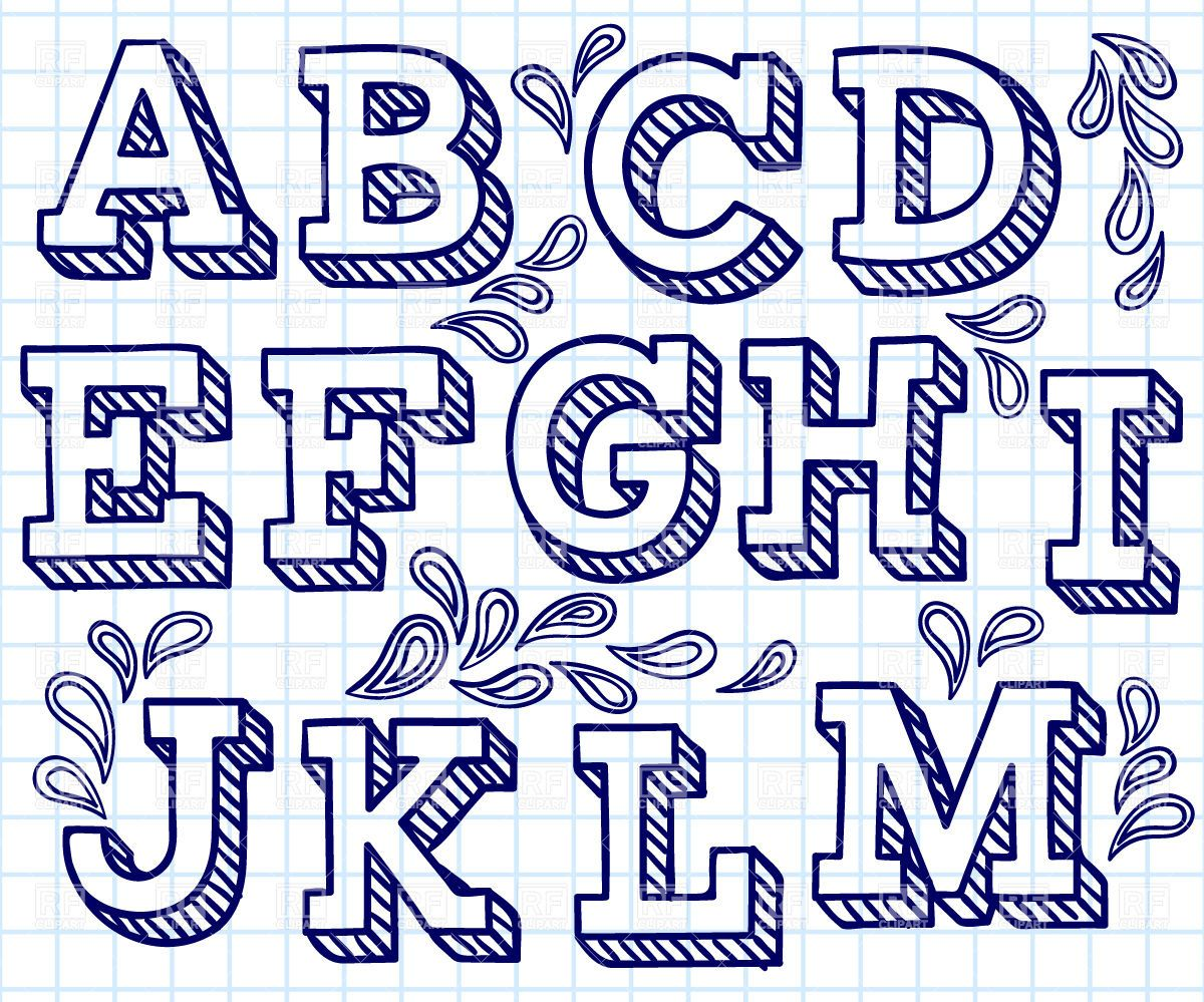 Hand Drawn Font  Shaded Letters And Decorations Vector Image
