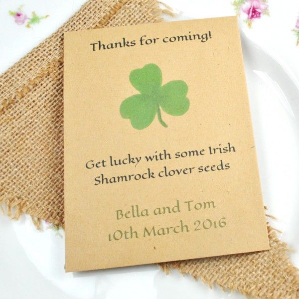 Irish Wedding Gift Ideas: Shamrock Seed Packet Wedding Favour