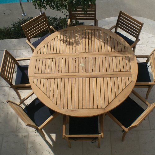 Royal teak round drop leaf patio dining table patio for Royal dining table