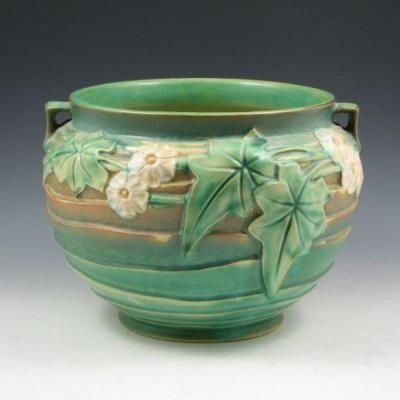 Art Deco Roseville Pottery Pine Cone Pattern Bowl 632 3 Green Zanesville Pottery