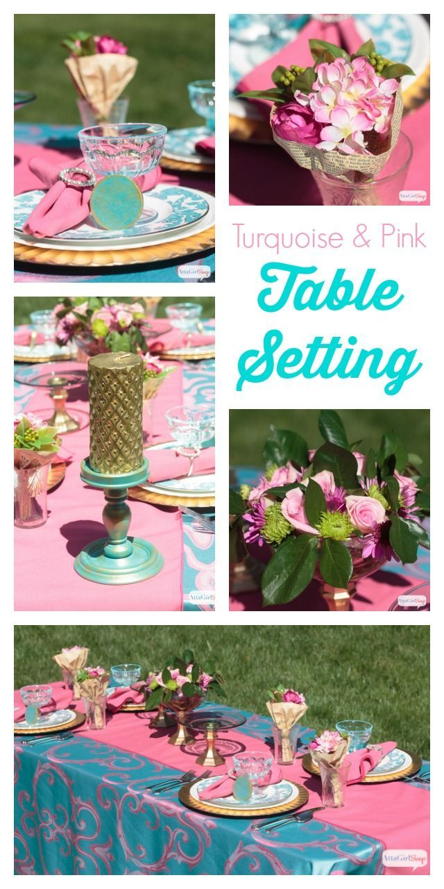 Perfect Color Combinations pink and turquoise tablescape