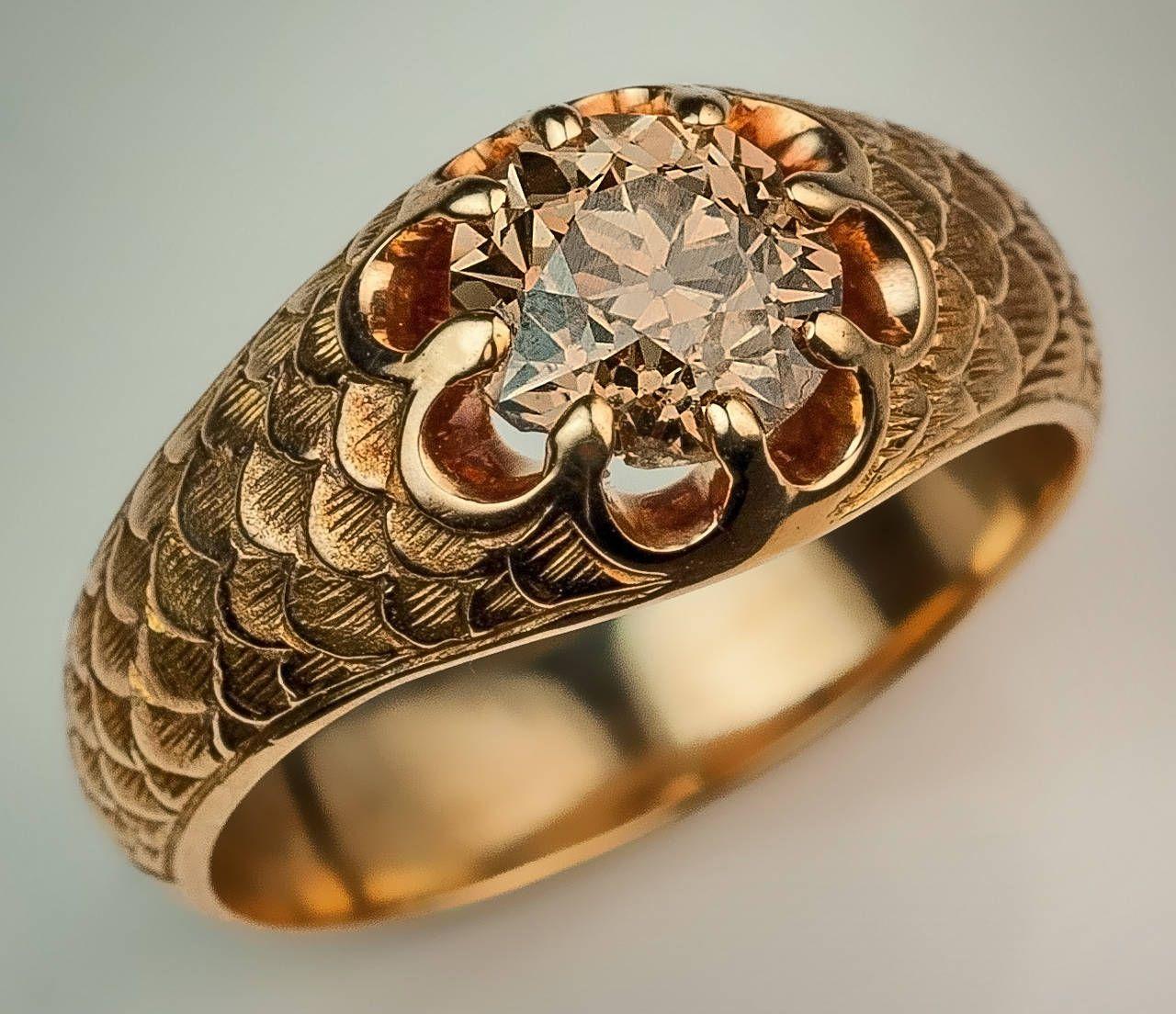Antique Fancy Color Old European Cut Diamond Gold Mens Ring 14k