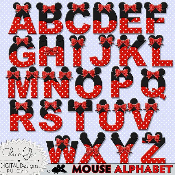 Mouse Alphabet Letters Minnie Mouse Digital Letters Numbers