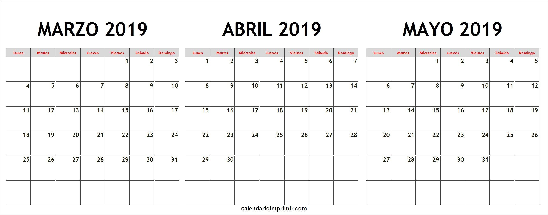 Calendario Abril Y Mayo 2019.Calendario Marzo Abril Mayo 2019 Lunes A Domingo March 2019
