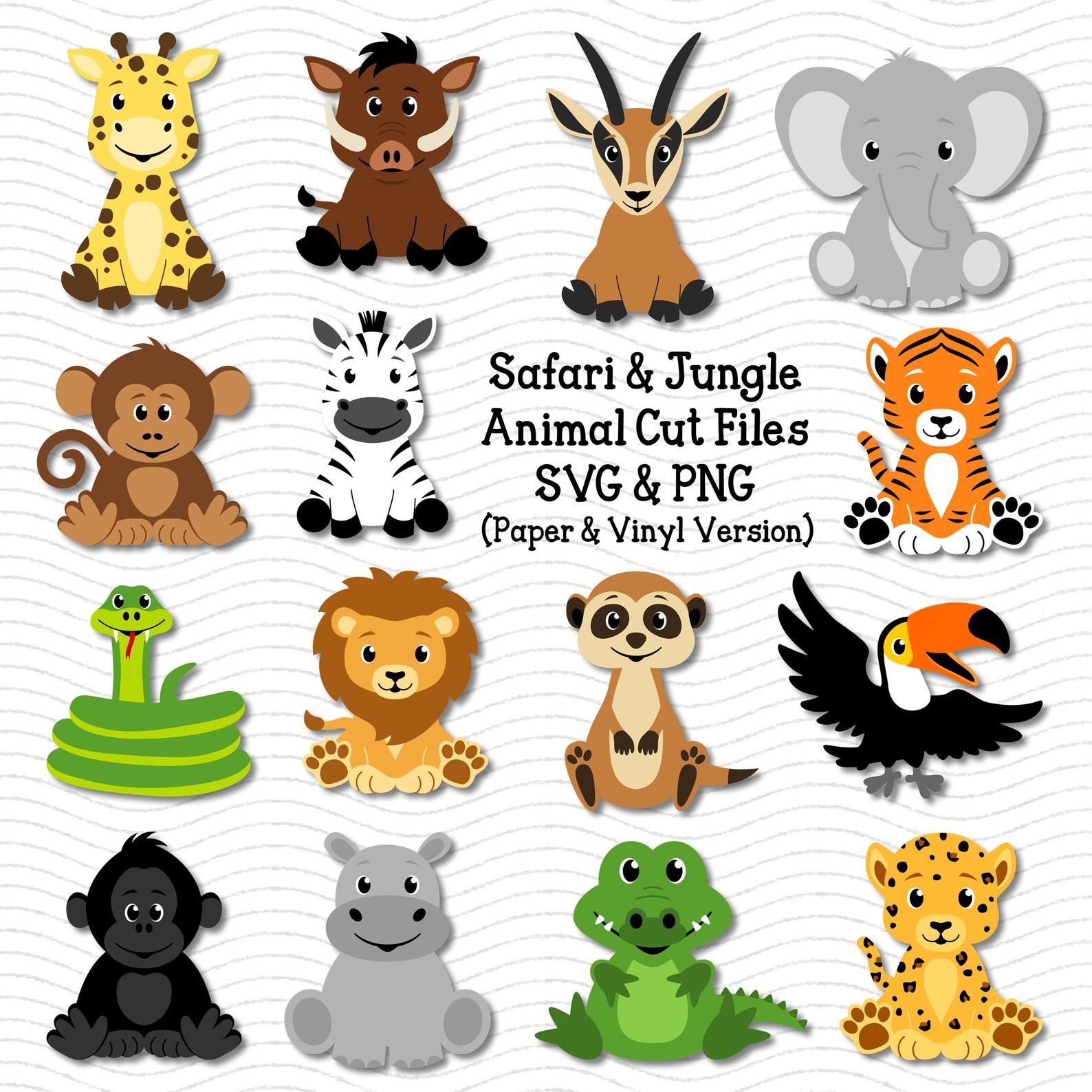 Animal Svg Safari Animals Svg Jungle Animals Svg Cute Etsy In 2021 Jungle Animals Safari Baby Animals Animal Cutouts