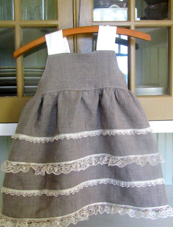 Linen and Lace Dress  Flower Girl Easter by simplysweetadelaide, $45.00