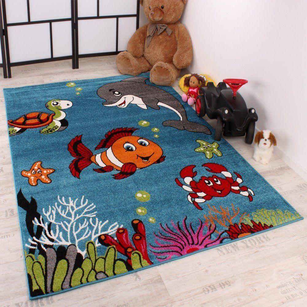 Werbung | Kinderteppich Clown Fisch Aqua Kinderzimmer Teppich In ...