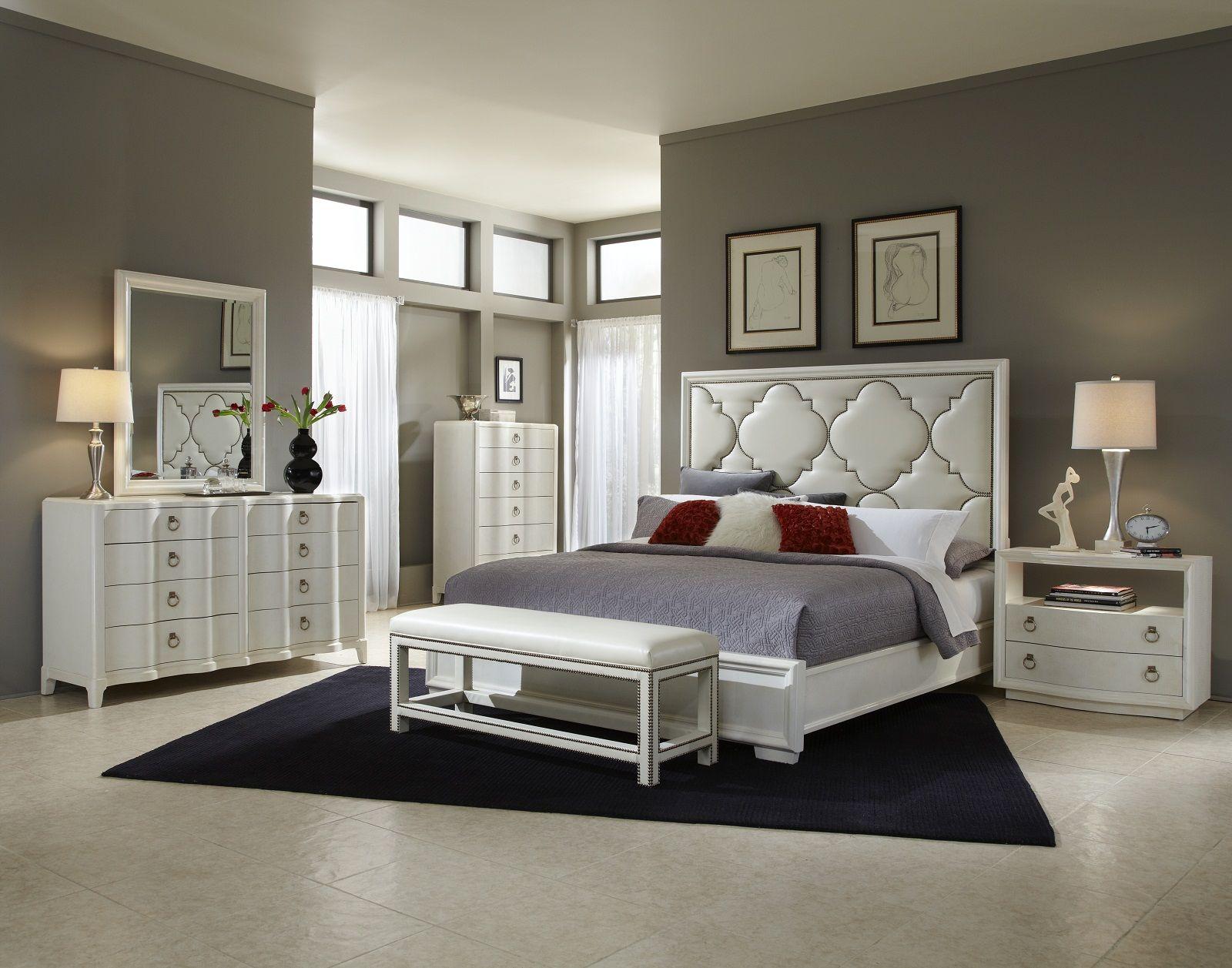 A.R.T. Cosmopolitan 4pc Upholstered Panel Bedroom Set in