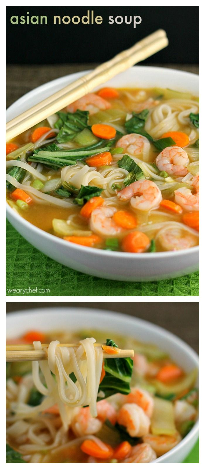 Asian Rice Noodle Soup with Shrimp – The Weary Chef