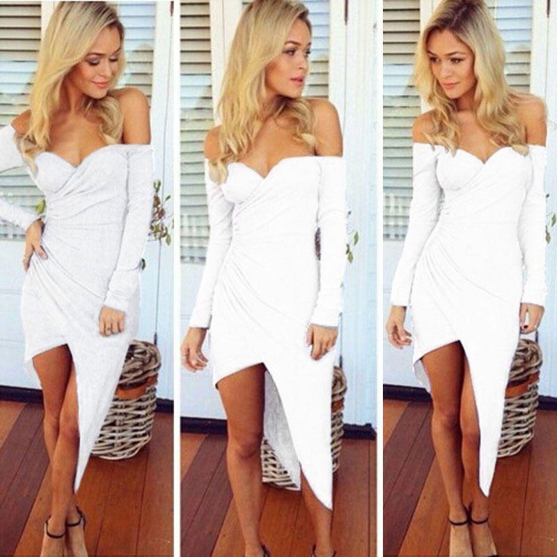 Sexy Off Shoulder Deep Vneck High Low Asymmetric Rush Drape Jersey Long Dress #GL #BallGown #Casual