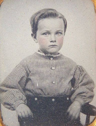 AMBROTYPE-SWEET-LITTLE-BOY-GINGHAM-SHIRT-BLONDE-BLUE-EYES-V-CLEAR-TINTED-IMAGE