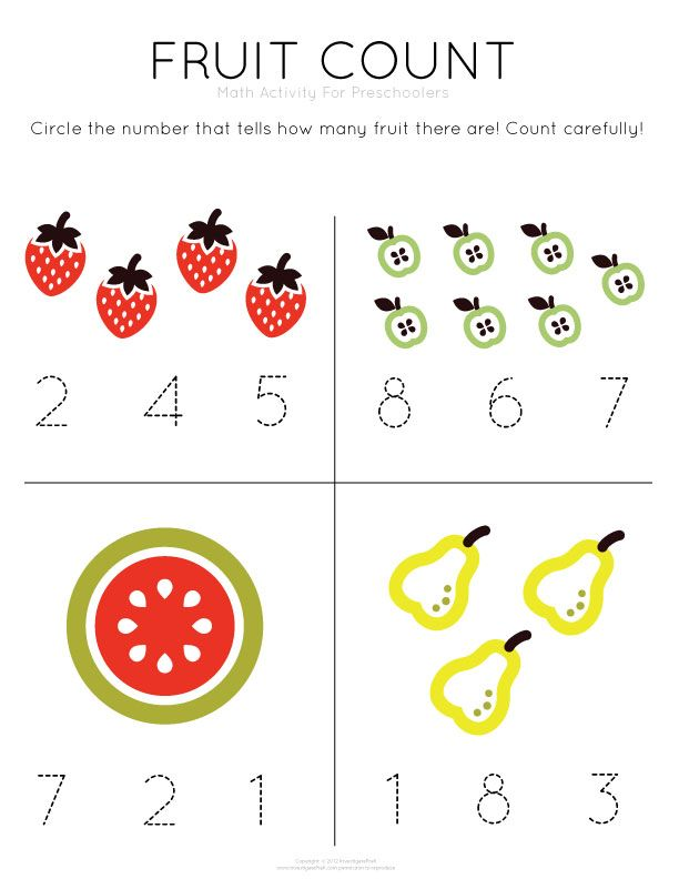 Template Tuesday Fruit Count work on counting and number – Preschool Matching Worksheets