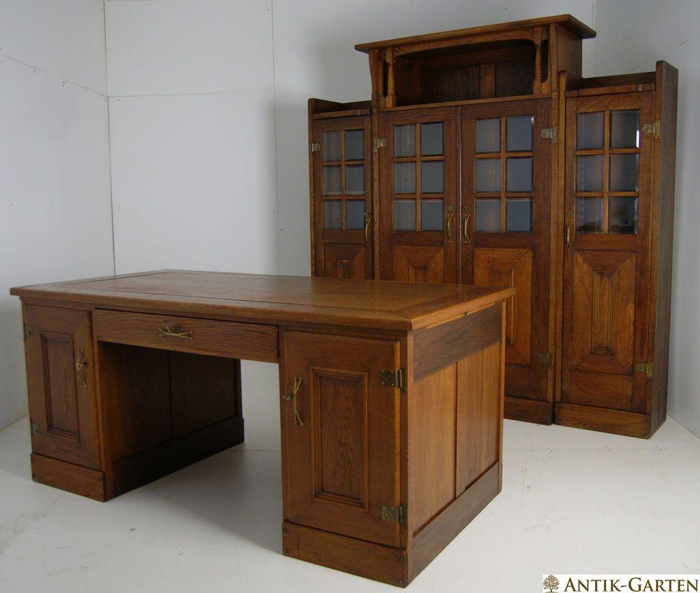Schultisch antik  ANTIK! Herrenzimmer Riemerschmid Jugendstil Eiche Bücherschrank ...