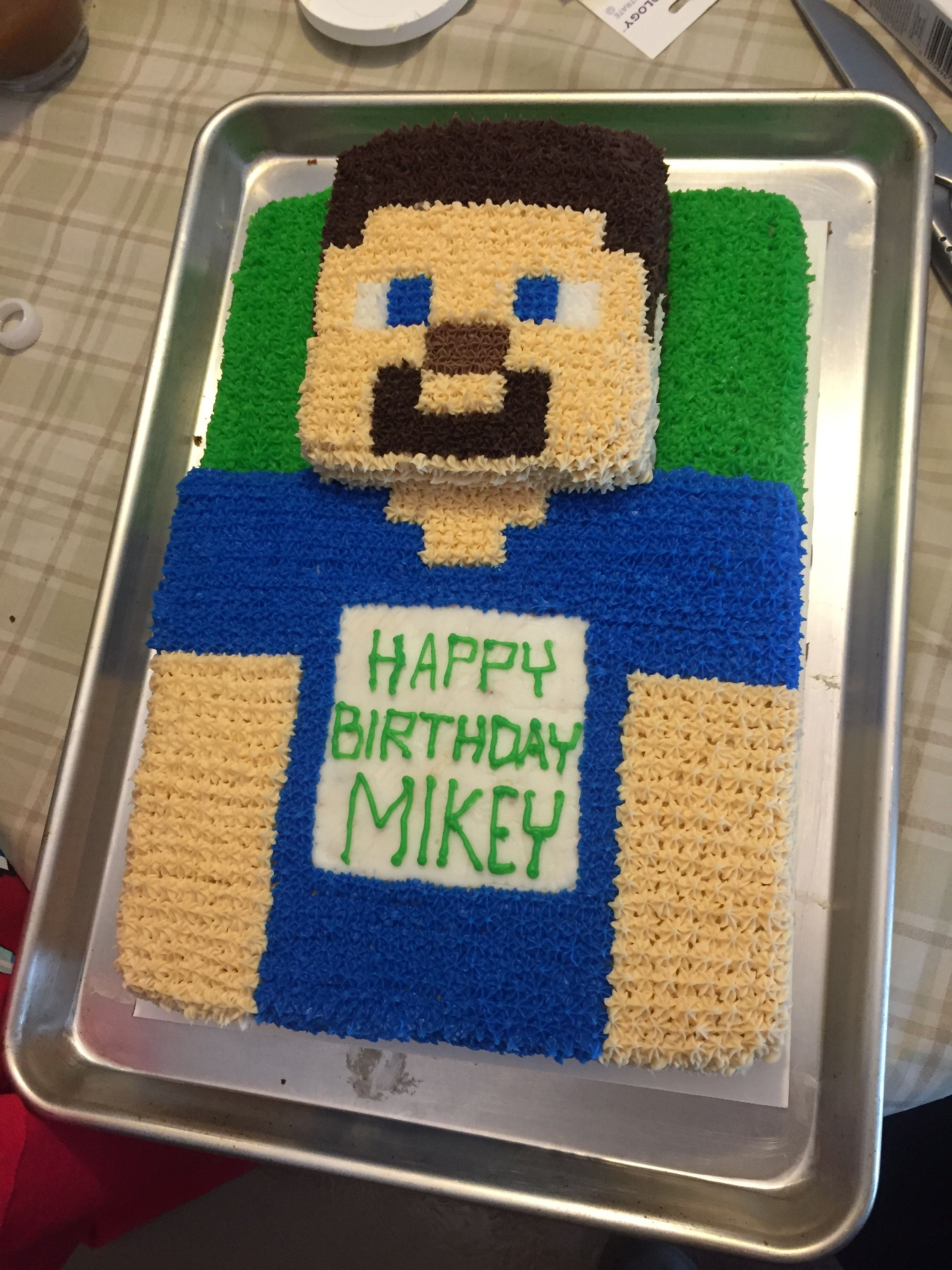 Mikey S Minecraft Steve Cake W Star Buttercream Frosting With