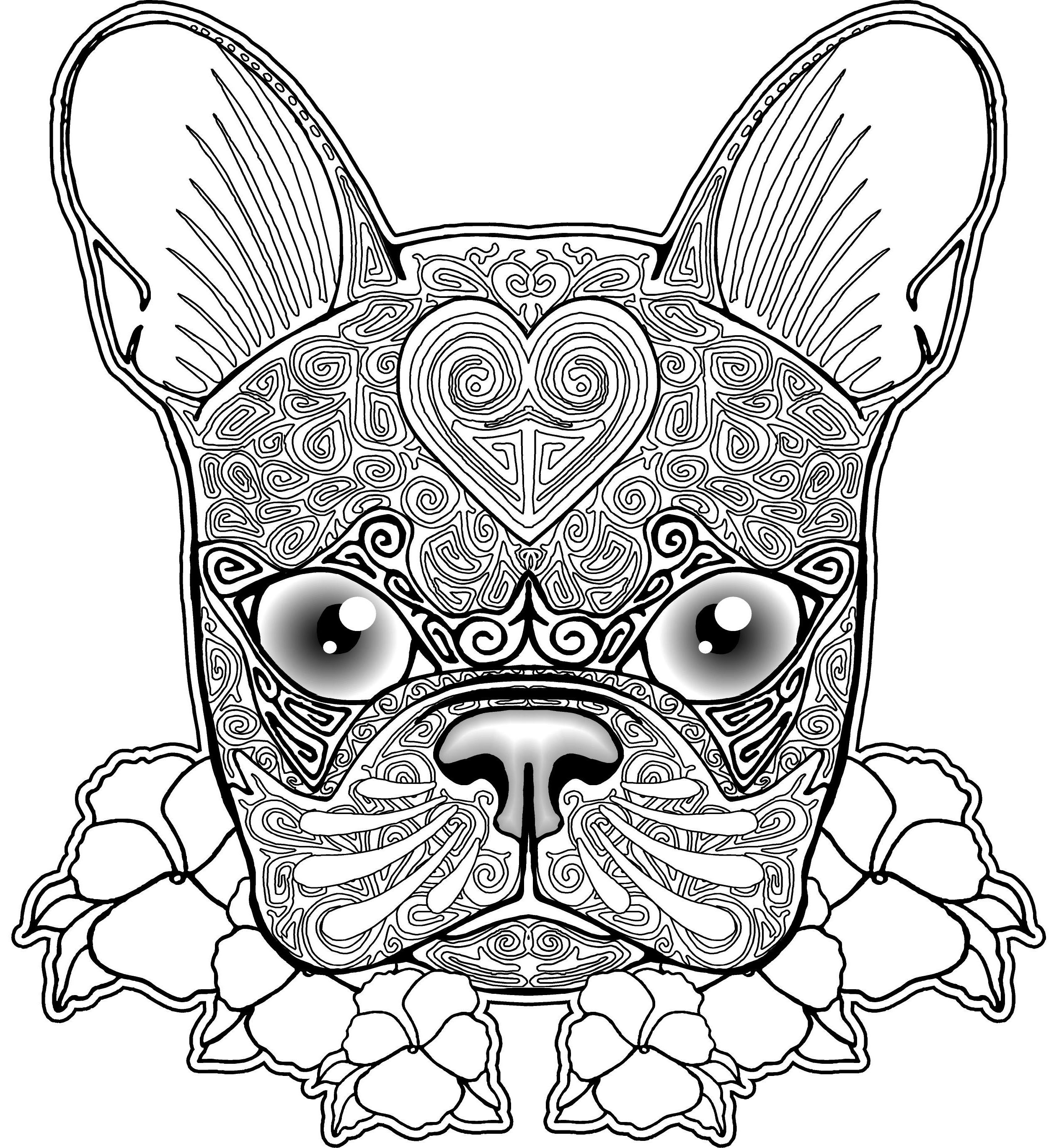 free bulldog zentangle coloring