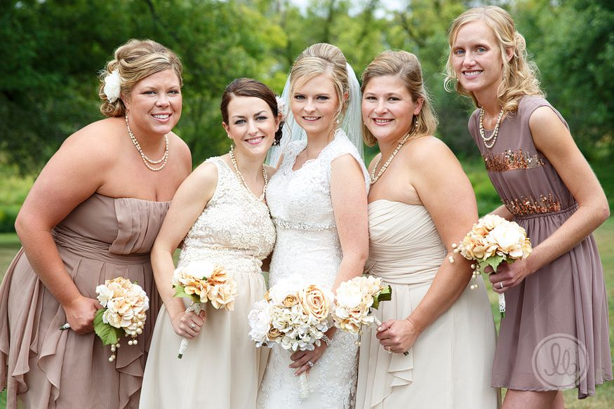 mismatched bridesmaids in cream + beige