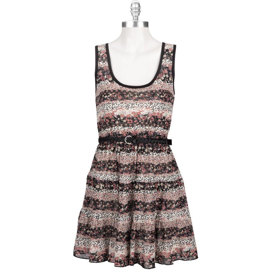 Trixxi Juniors Belted Floral Print Dress Fashion Floral Print Dress Summer Dresses [ 900 x 900 Pixel ]