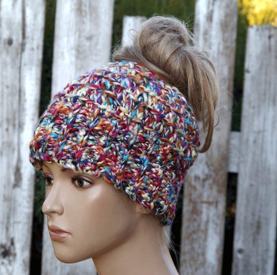Messy bun beanie colorful melange Women Hat Winter messy bun hat Crochet  Beanie ponytail beanie hat Women hat Girls Hat messy bun gift cf39f7b2d0eb
