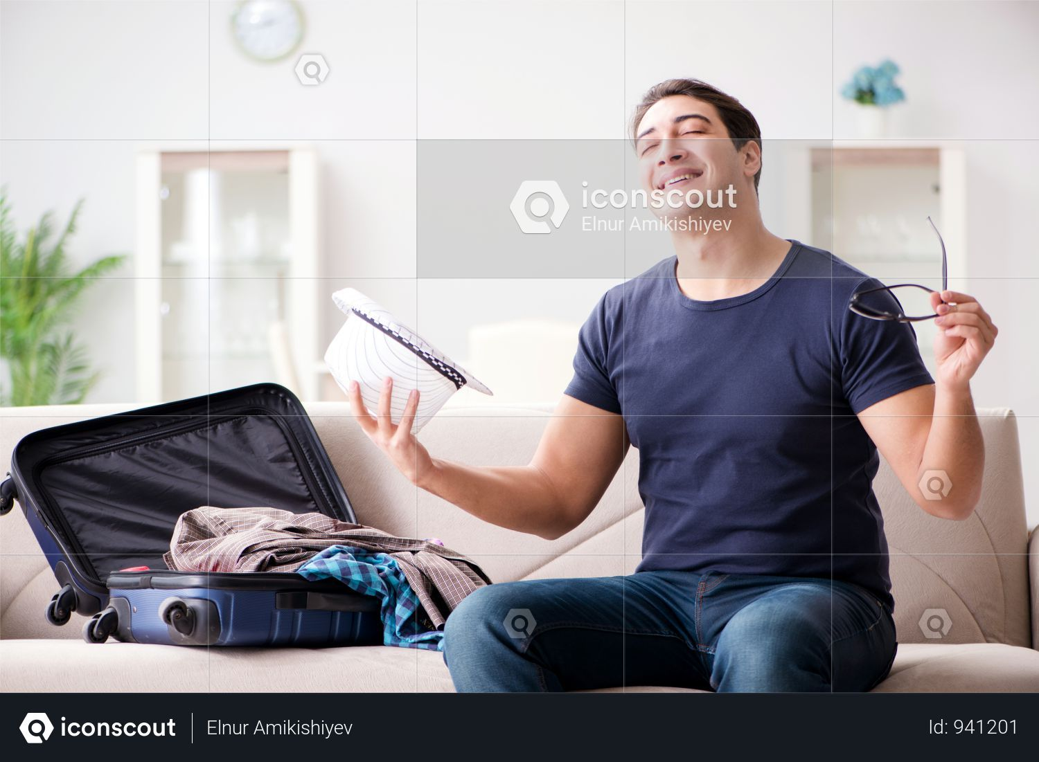 Premium Man Going On Vacation Packing His Suitcase Photo Download In Png Jpg Format Vacation Packing Man Photo