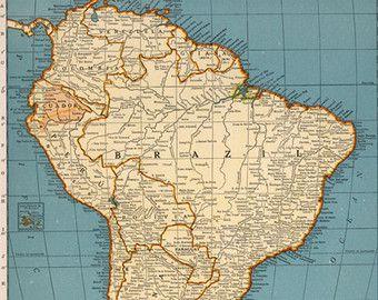 Vintage South America Map Digital download - Vintage Art Image ... on