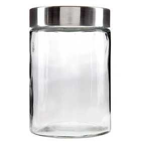 1100 mL Glass Jar with Brushed Metal Lid