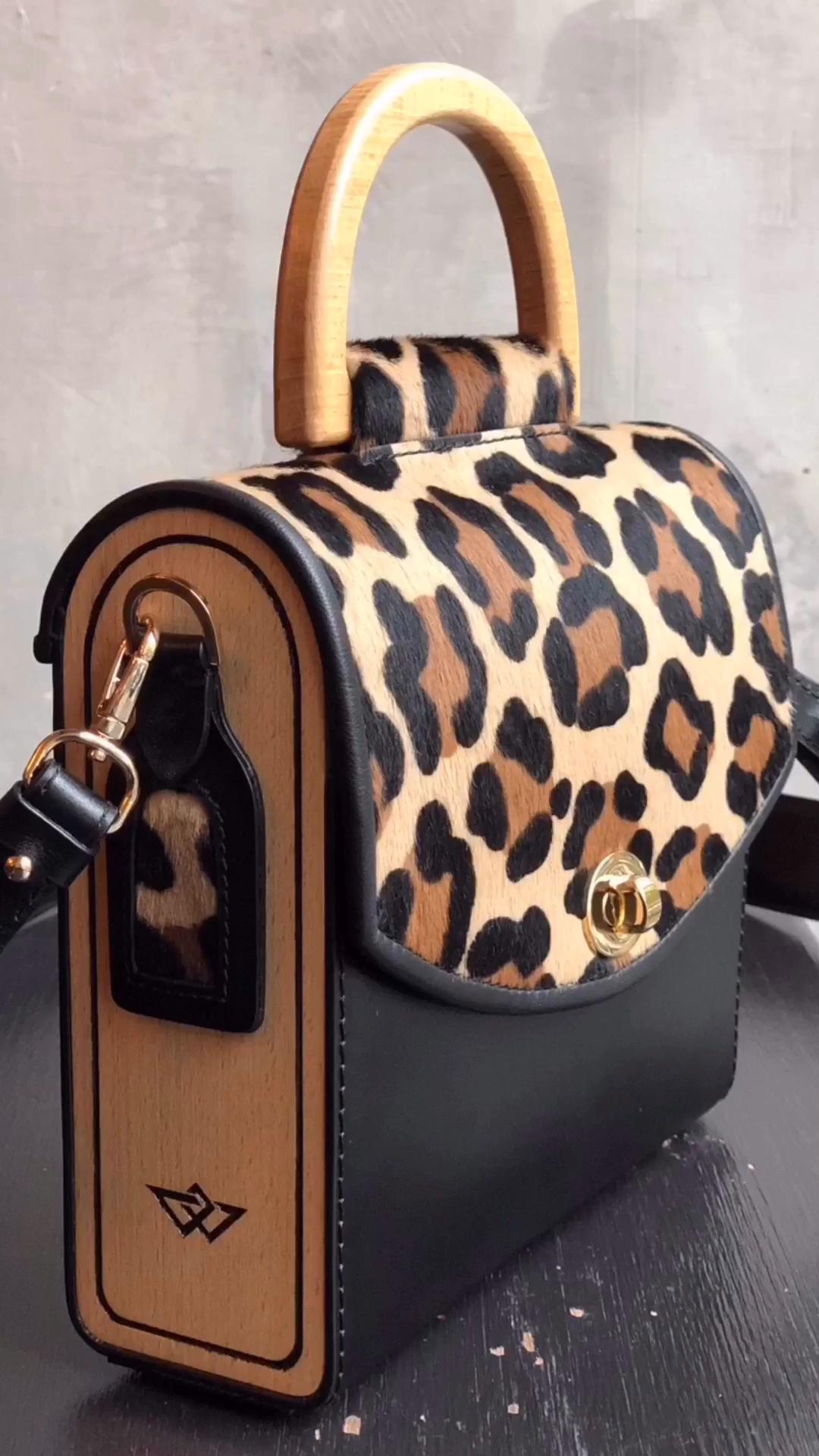 Leopard Print Genuine Leather Top Handle Bag Aurora