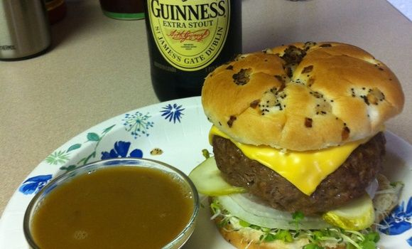 make baked beer burgers and a beer Au jus