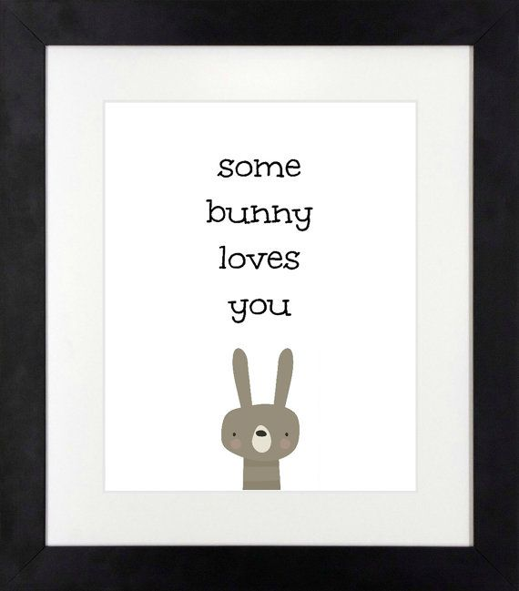 Some Bunny Loves You // Bunny Art // Nursery by NothingPanda