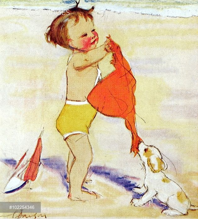 Tug of War by Muriel Dawson -- a little boy and his dog on the beach.