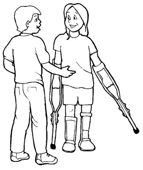 People Disabilities With Friend Coloring Page Boyama Sayfalari