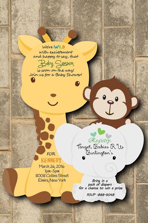 Safari Baby Shower Invitations Jungle Baby Shower Invitations Monkey ...