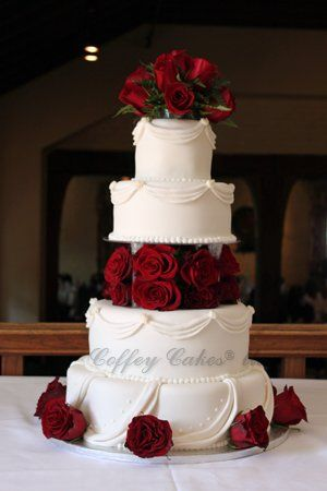 My photo album pinterest white cakes dark red and raspberry elegant red wedding cake junglespirit Gallery