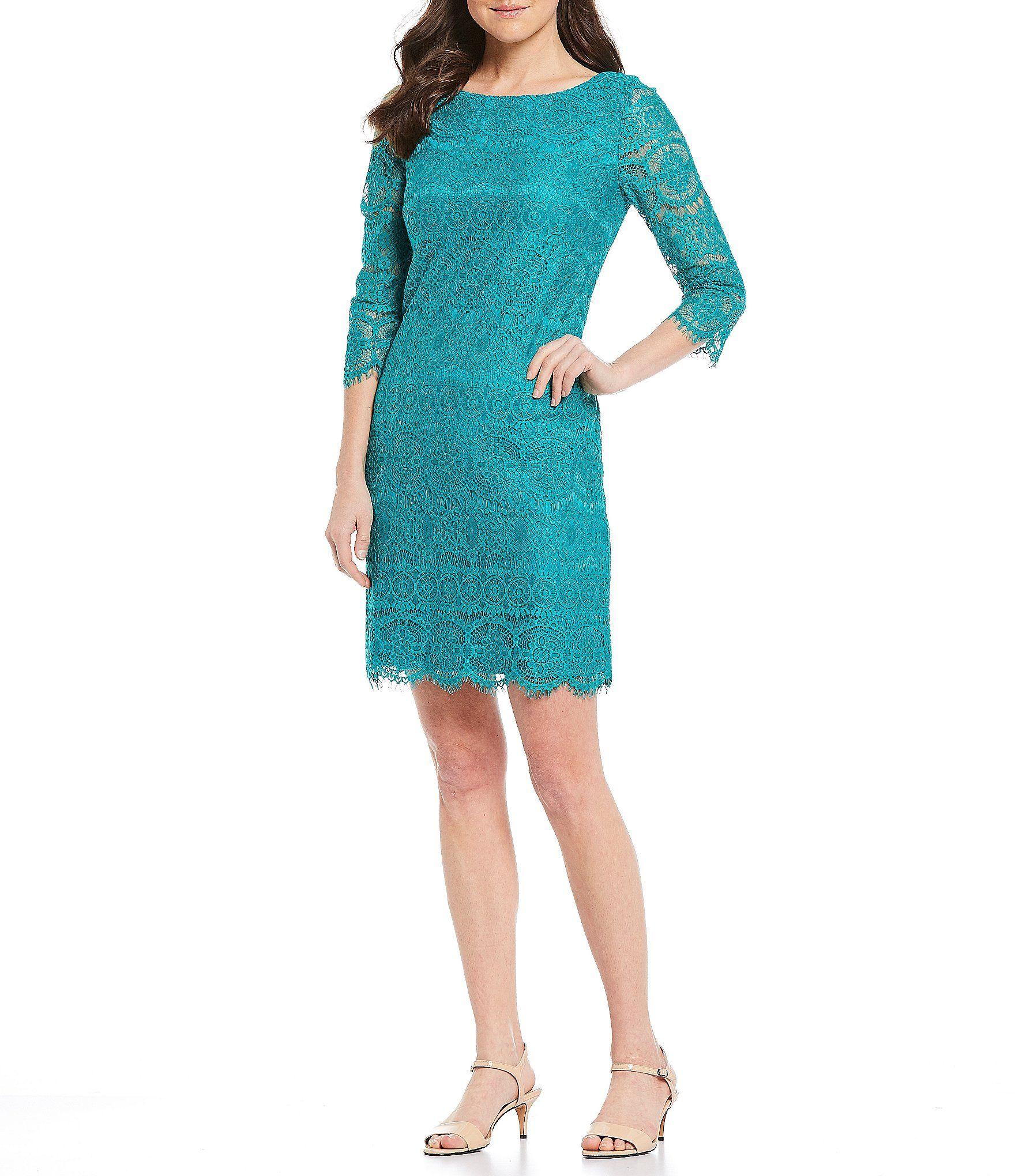 Jessica Howard Scalloped Lace 3 4 Sleeve Shift Dress Dillards Shift Dress Dresses Casual Dresses [ 2040 x 1760 Pixel ]