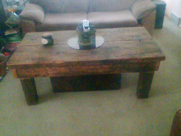 Table made from our barn wood. Love the rustic look.
