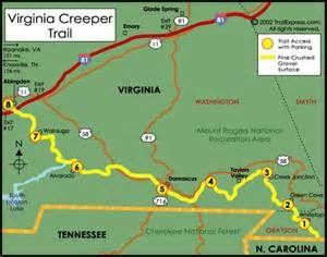 Abingdon Virginia Map.Virginia Creeper Trail Map From White Top Mountain To Abingdon Va