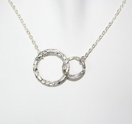 double initial circular necklace   Hammered Double Circle Necklace , Etsy, $12