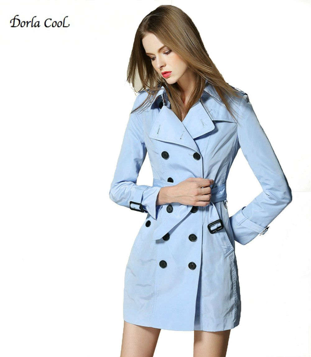 Dorla Cool Retro Women's Trench Coat 2017 Spring British Classical ...