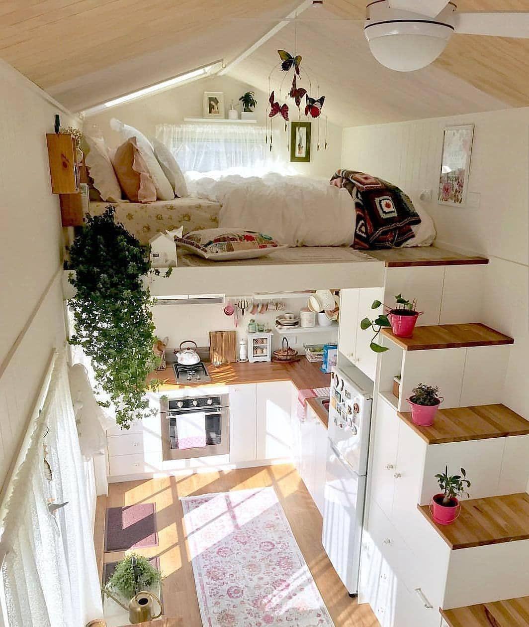 "Olga on Instagram: ""This is a beautiful tiny home interior! credit  @tinymissdollyonwheels . . • follow us @passiondesign_ig ✔ . . #interiordesignideas…"""