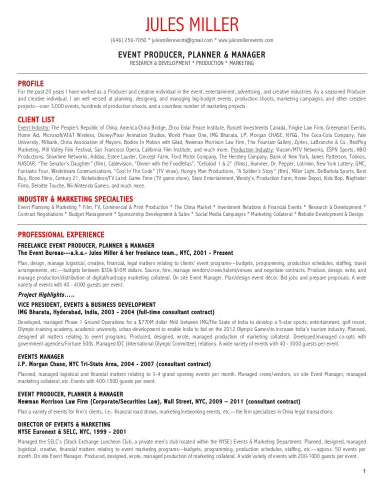 event manager resume pdf Google Search Event planner