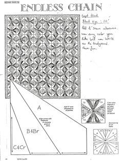 Endless Chain quilt pattern. Doing this for Mother.