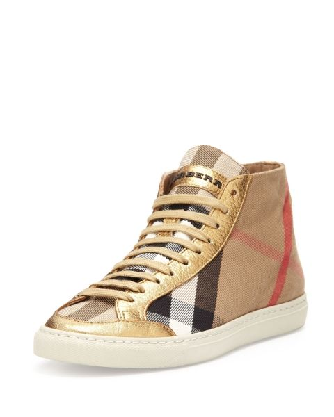 Burberry Leather-Trim Check Hi-Top Sneaker