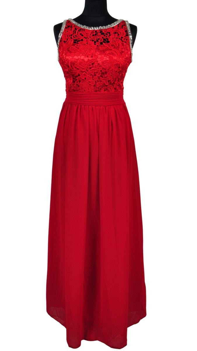 d2adc7fbbe Czerwona suknia wieczorowa z koronką firmy Queen Size Model  R1196 Sukienka  wykonana z  100