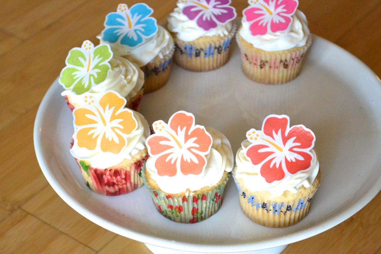 Edible Hawaiian Tropical Hibiscus Flowers Cake Cupcake Etsy In 2020 Flower Cake Vegan Wedding Cake Tropical Cupcakes