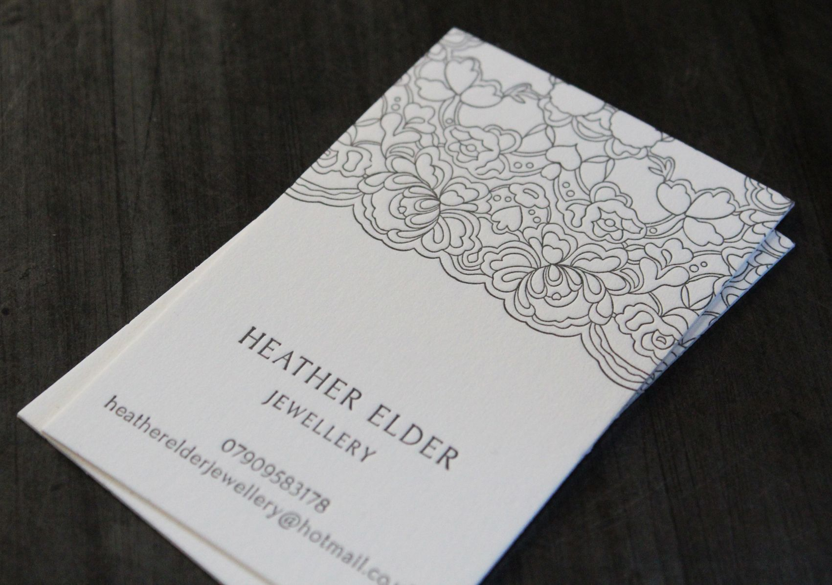 Business cards for heather elder jewellery letterpress printed on business cards for heather elder jewellery letterpress printed on 100 cotton saunders waterford stock colourmoves Images